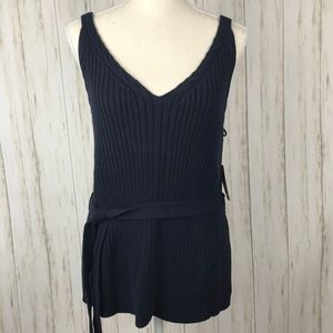Anthropologie Moth Belted Navy Sweater Tank M